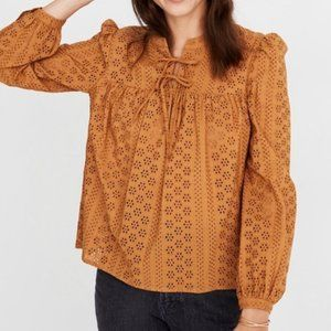 Madewell Eyelet Double-Tie Peasant Top XS